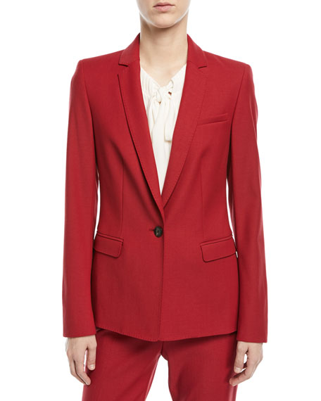 Escada Notch-Lapel One-Button Tailored Wool-Blend Blazer and