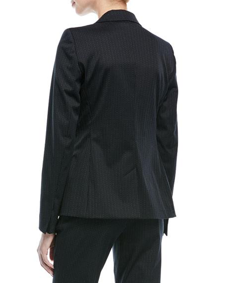 Broken Pinstripe One-Button Jacket