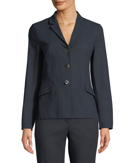 3-Button Unlined Jacket with Side Slits