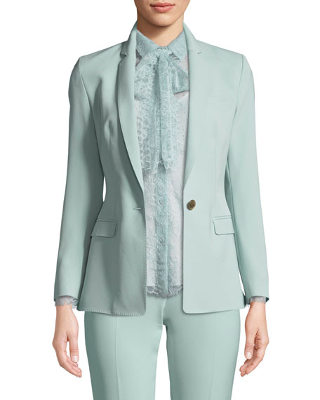 Escada One-Button Narrow-Lapel Crepe Jacket