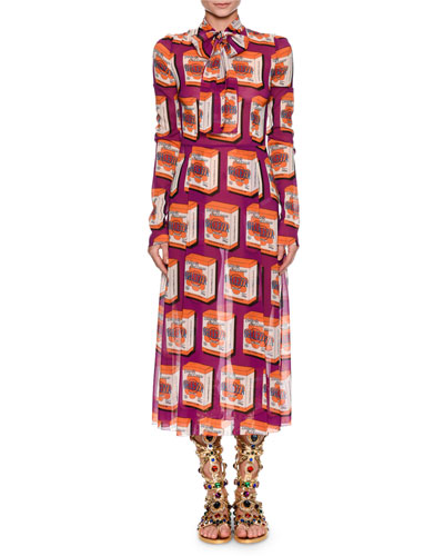 Long-Sleeve Print Midi Dress with Necktie