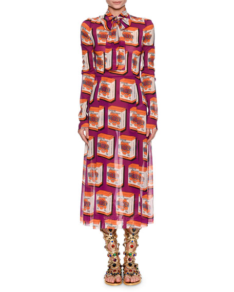 Dolce & Gabbana Long-Sleeve Print Midi Dress with
