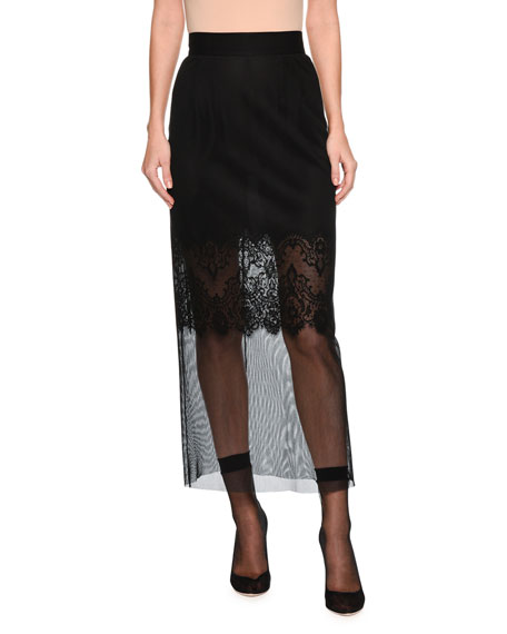 Pencil Midi-Length Skirt with Lace Slip