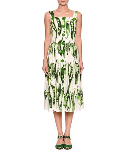 Sleeveless Button-Front Pea-Print Cotton Poplin Midi Day Dress