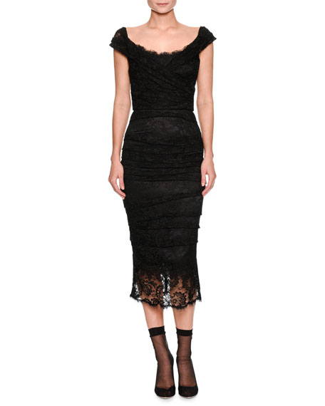 Dolce & Gabbana Cap-Sleeve Ruched Lace Fitted Cocktail