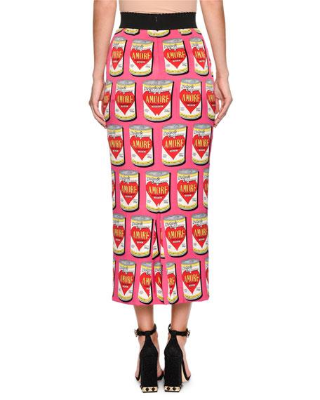 Amore Energy Drink Print Midi Pencil Skirt