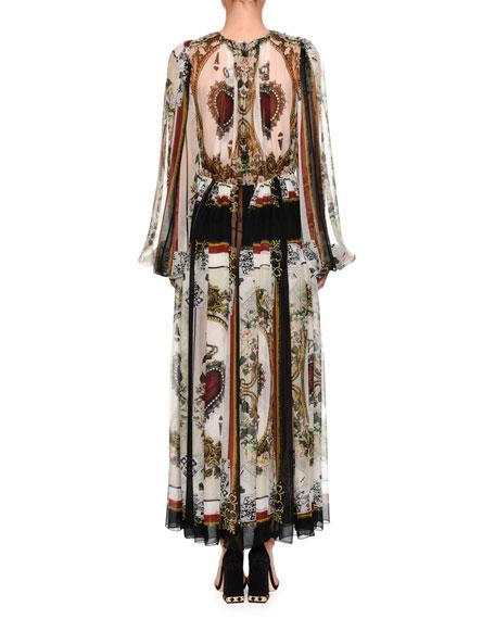Long-Sleeve V-Neck Playing Card-Print Chiffon Gown