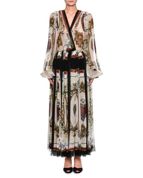 Dolce & Gabbana Long-Sleeve V-Neck Playing Card-Print Chiffon