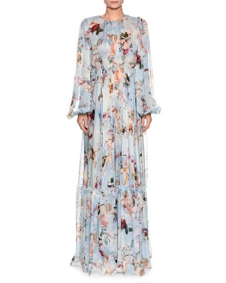 Dolce & Gabbana Long-Sleeve Cherub-Print Chiffon Jumpsuit and