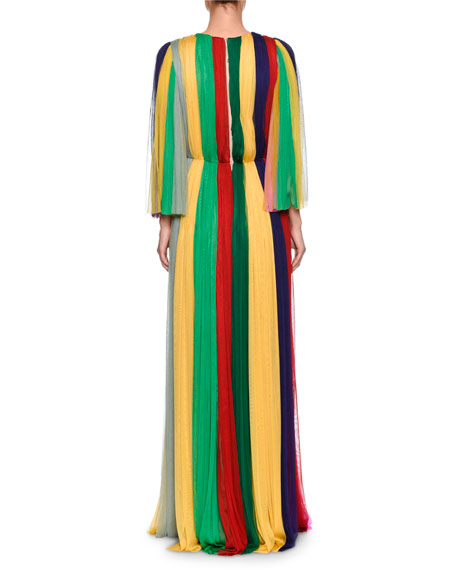 Long-Sleeve Rainbow-Striped Chiffon Gown