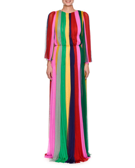 Dolce & Gabbana Long-Sleeve Rainbow-Striped Chiffon Gown