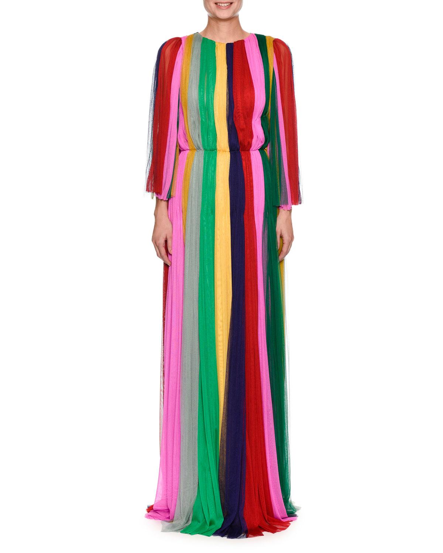 Dolce & Gabbana Long-Sleeve Rainbow-Striped Chiffon Gown and ...
