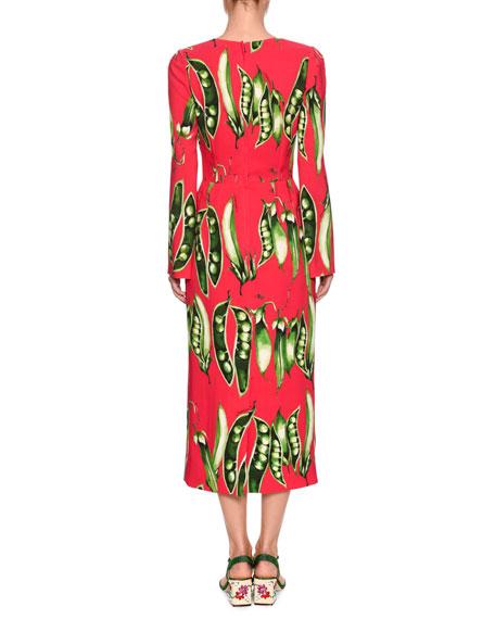 Long-Sleeve Snap-Pea Print Mid-Calf Dress