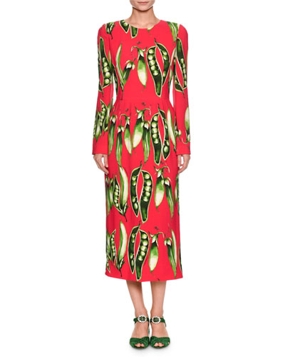 Long-Sleeve Snap-Pea Print Mid-Calf Dress