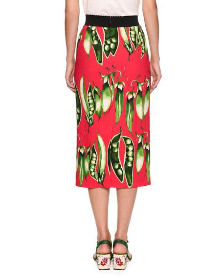 Snap-Pea Printed Tubino Pencil Skirt