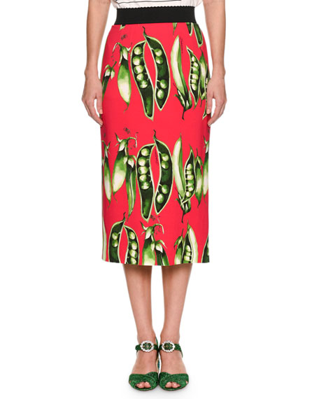 Dolce & Gabbana Snap-Pea Printed Turbo Pencil Skirt
