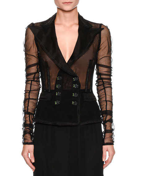 Dolce & Gabbana Double-Breasted Tulle Jacket
