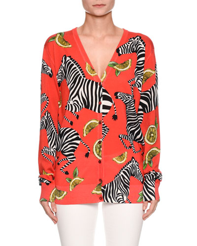 Zebra-Lemon Print V-Neck Button-Front Silk Cardigan