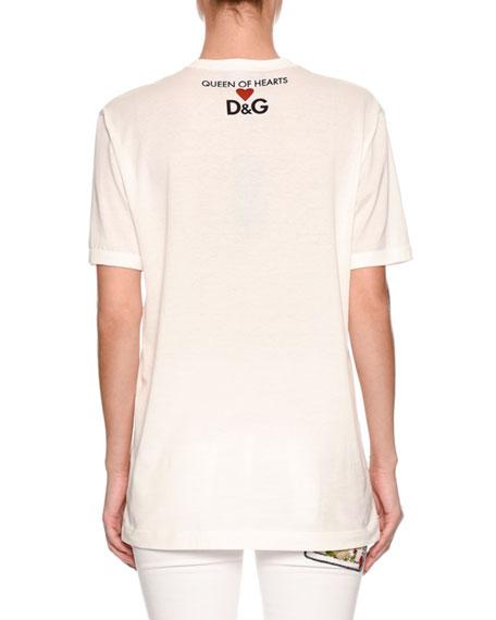 Short-Sleeve Queen of Hearts Glove-Print T-Shirt