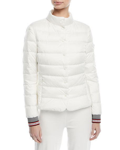 Escada Fair-Isle Snap-Front Quilted Puffer Jacket and Matching Items