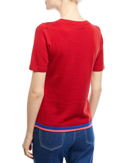 Crewneck Short-Sleeve Virgin Wool Top with Contrast Trim
