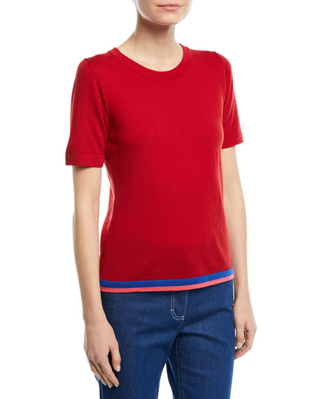 Escada Crewneck Short-Sleeve Virgin Wool Top with Contrast