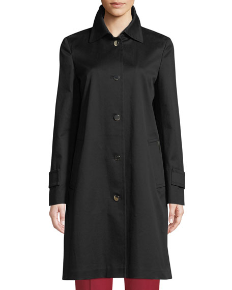 Collared Button-Front Straight Trench Coat