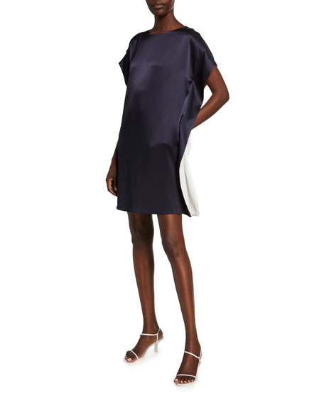 Satin Capelet Cocktail Dress with Contrast Inset