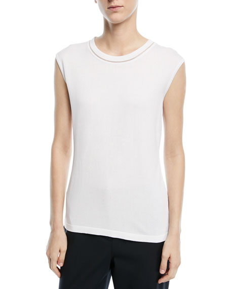Crewneck Sleeveless Knit Tank