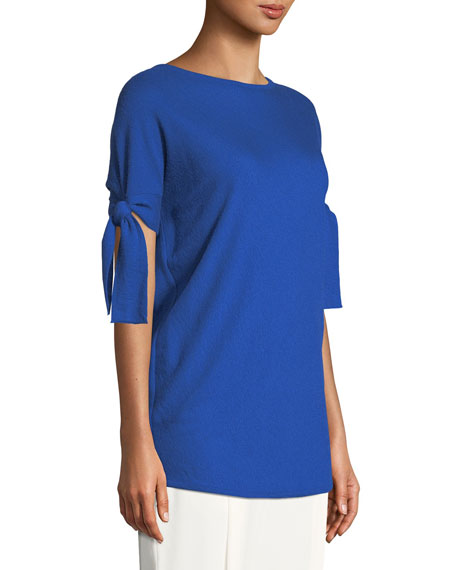 Tie-Sleeve Cashmere Tunic Blouse