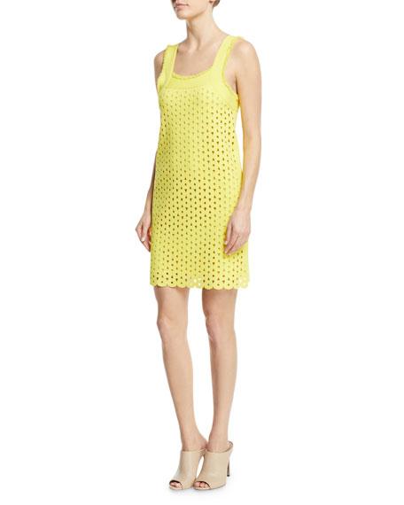Square-Neck Straight Cutout-Eyelets Mini Dress