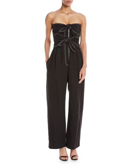 Strapless Bow-Front Wide-Leg Linen Jumpsuit with Mesh