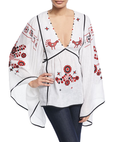 Country Summer Bird-Embroidered V-Neck Tieback Tunic Blouse