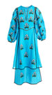 Sunflower-Embroidered Puff-Sleeve 2-Tier Linen Maxi Dress
