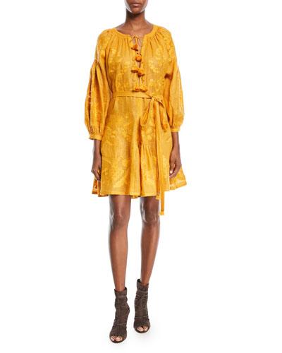 Grapevine Embroidered Tie-Waist Linen Short Dress
