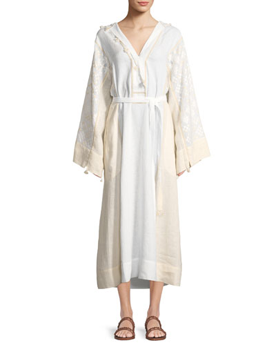 Hooded Bell-Sleeve Belted Embroidered Linen Dress