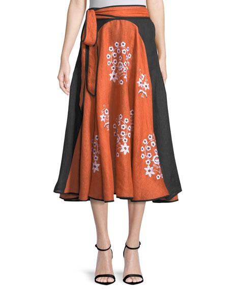 Spanish-Pigeon Belted Full A-Line Linen Midi Skirt