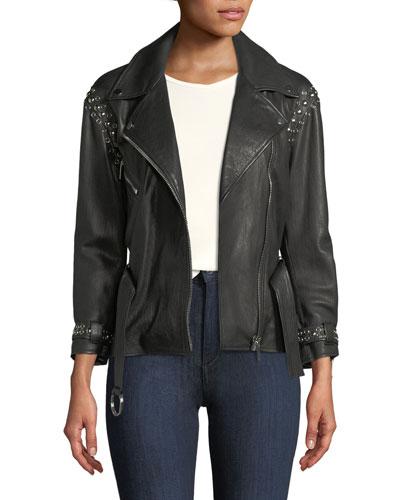 Joaquin Belted Leather Moto Jacket with Studding
