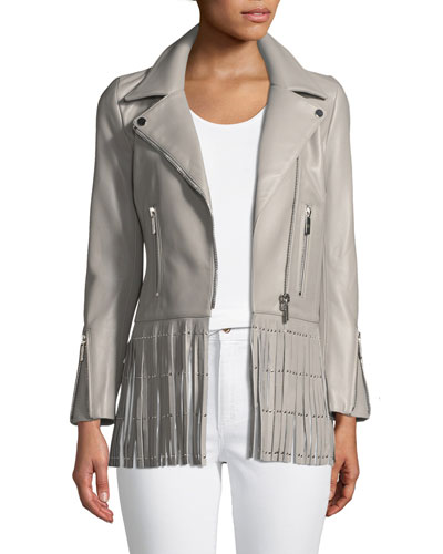 Saint Lambskin Leather Moto Jacket with Studded Fringe Hem