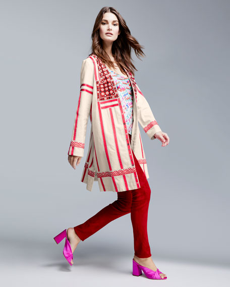 Liraz Striped Open-Front Caban Jacket with Embroidered Yoke