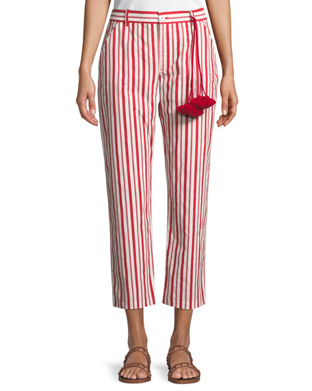 Figue Zuri Straight-Leg Striped Cotton Ankle Pants