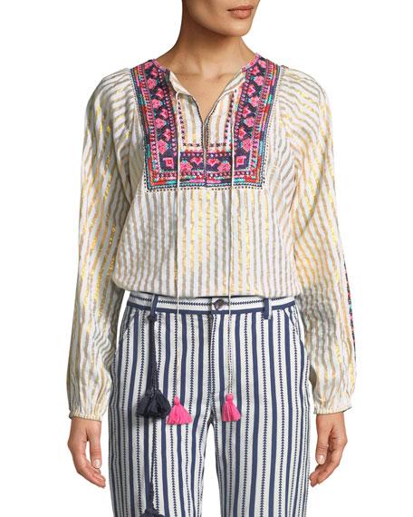 Caraiva Tassel-Tie Metallic Striped Peasant Blouse