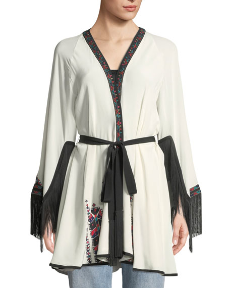 Myra Fringed Wrap Embroidered Kimono Jacket