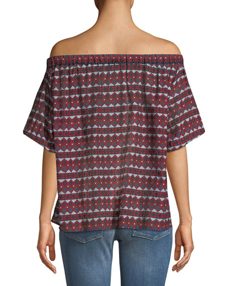 Off-the-Shoulder Small Dot & Diamond-Print Silk-Cotton Blouse