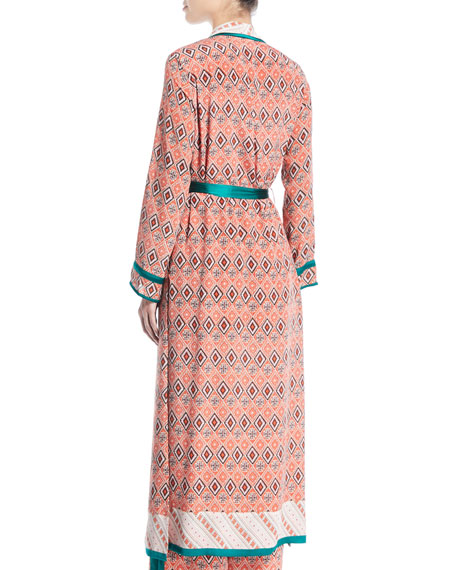 Almasi-Print Silk Robe Coat with Self-Tie Belt
