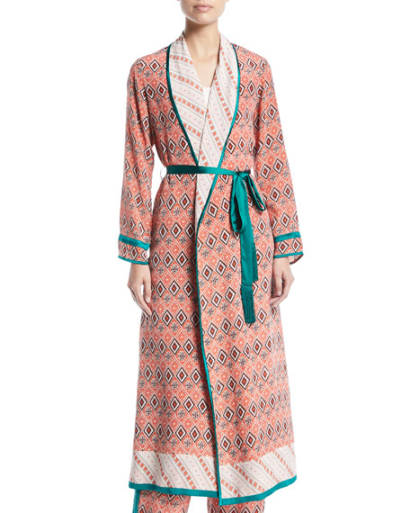 Talitha Collection Almasi-Print Silk Robe Coat with Self-Tie