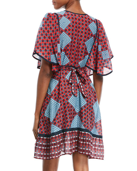 Elise Short-Sleeve Tieback Multi-Print Mini Dress
