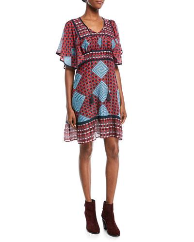 Elise Short-Sleeve Tieback Multi-Print Mini Dress