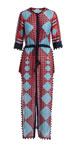 Ira Zip-Front Drawstring-Waist Multi-Print Long Dress with Pompom Trim