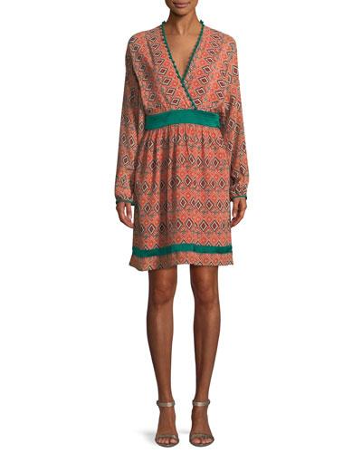 27cac8866d3 Almasi-Print Short Kimono Dress with Pompom